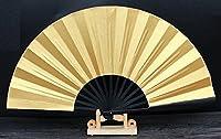 宣纸折扇 10寸 黒竹両面金泥 未完成品 扇子立て+収納袋セット  創作製作に