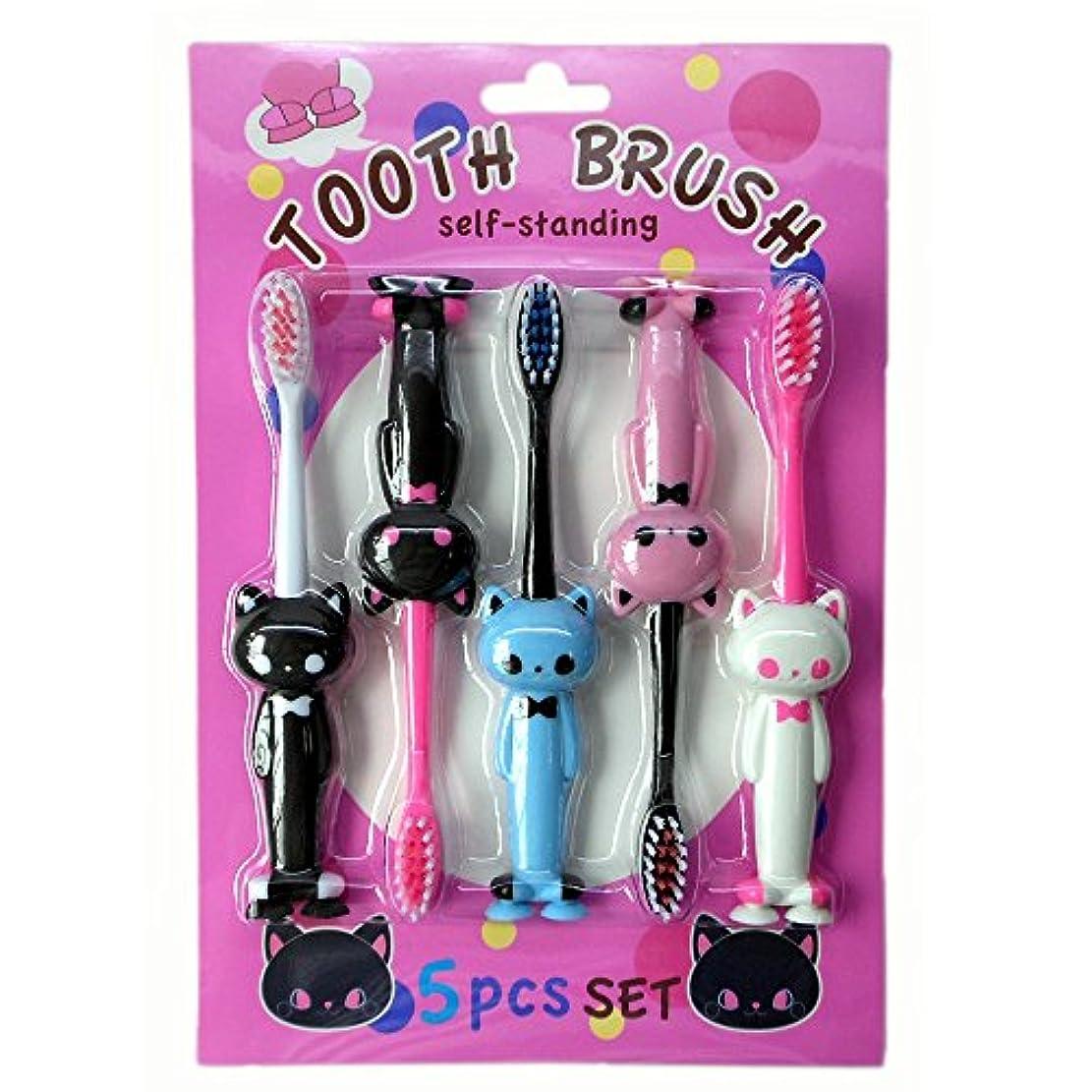 性別ドロップ説得力のある25453 /Y's TRADING/アニマル歯ブラシ5Pセット(ネコ)/動物/洗面所/エチケット/歯磨き/子供/ギフト/プレゼント