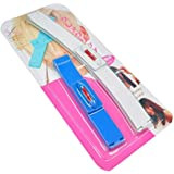 Hair Styling Bangs Trimmer Hair Styling Scissors Ruler Hair Clipper Hairdressing Salon Kit Set (Blue)