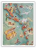 カリブ諸島の地図 - バハマ諸島 - 米国バージン諸島 - ドリンク・メニュー・リスト - ドン・ザ・ビーチカンバー・チキバーアンドレストラン - ビンテージ イラスト マップ c.1940s - アートポスター - 23cm x 31cm