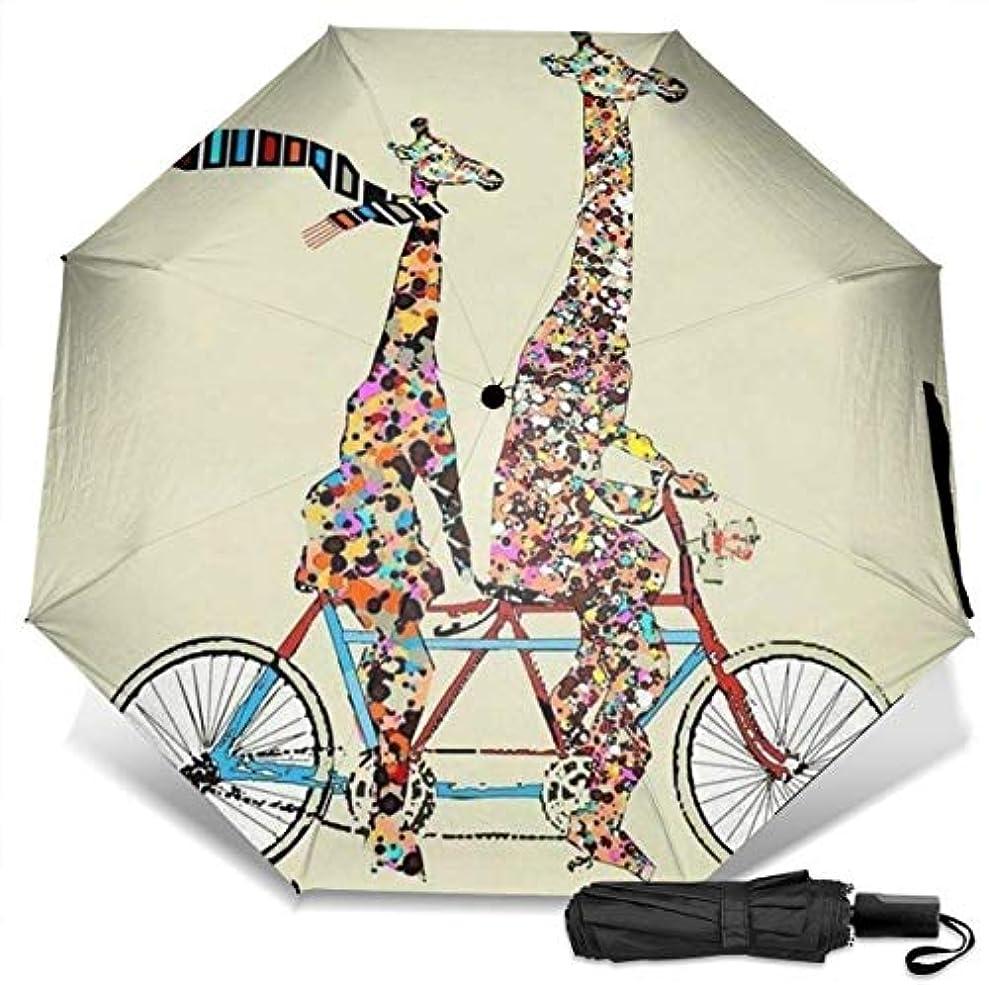 トラフ南方のピジン大きくて小さいキリンは、タンデム自転車をなくすスカーフを着用します折りたたみ傘 軽量 手動三つ折り傘 日傘 耐風撥水 晴雨兼用 遮光遮熱 紫外線対策 携帯用かさ 出張旅行通勤 女性と男性用 (黒ゴム)