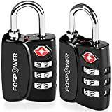 Luggage Locks TSA Approved, FosPower (2 Pack) Open Alert Indicator 3 Digit Combination Padlock Alloy Body for Travel Bag, Suitcase, Lockers, Gym, Bike Locks or Other