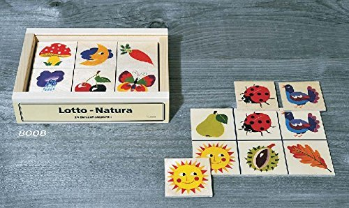 Atelier Fischer Wooden Nature Lotto Game in Wooden Box (24 Tiles / 4 Wooden Playing Boards)
