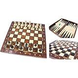Wegiel 木製ゲームセット チェス/バックギャモン/チェッカー 41cm [並行輸入品]