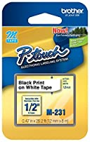 M231 1/2-Inch Black on White Tape for P-Touch Labeler by Brother