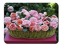 バスケット、ピンクの花、バラ パターンカスタムの マウスパッド 旅行 風景 景色 (26cmx21cm)