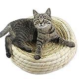 DQL ネコ用品 職人手作り猫ベッド草編み天然わら猫猫の巢/つめとぎ猫スクラッチャー/猫ソファー (L)
