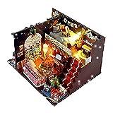 Ungfu Mall 木製 ドールハウス LEDライト ミニチュア クリスマス ルーム DIY パズル おもちゃ