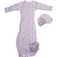 Woombie Indian Cotton Gowns Plus Hat, Purple Pizazz, 24-30 Lbs by Woombie