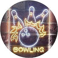 Bowling Game Room Dual Color LED看板 ネオンプレート サイン 標識 白色 + 黄色 300 x 400mm st6s34-i3291-wy