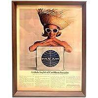 パンナム PANAM バッグ カリブ 1960年代 ビンテージ広告 ポスター アートフレーム 額付