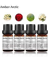 Amber Arctic 4 パック 精油 セット、 100% 純粋 天然 アロマ 最良 治療 グレード エッセンシャル オイル (ジャスミン、 ベチバー、 ローズ、 カモミール)