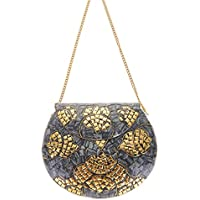 From St Xavier Women's Greta Clutch, Grey Gold, One Size