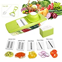 Mandoline Vegetable Slicer, Multi-function Food Slicer with 5 Interchangeable Blades/ Food Container/Safety Food Holder /Blade Storage Box /Potato Peeler/Cleaning Brush