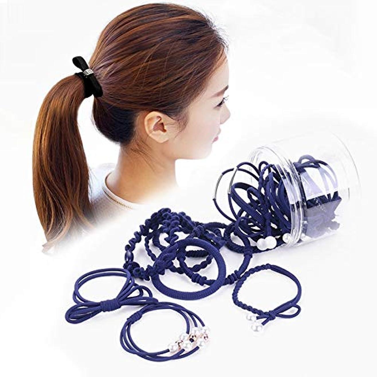 作曲家生活侵入Hairpinheair YHM 24 PCS/箱入りシンプルクリエイティブレディパールちょう結びスタイルヘアバンド(ブラック) (色 : Navy Blue)