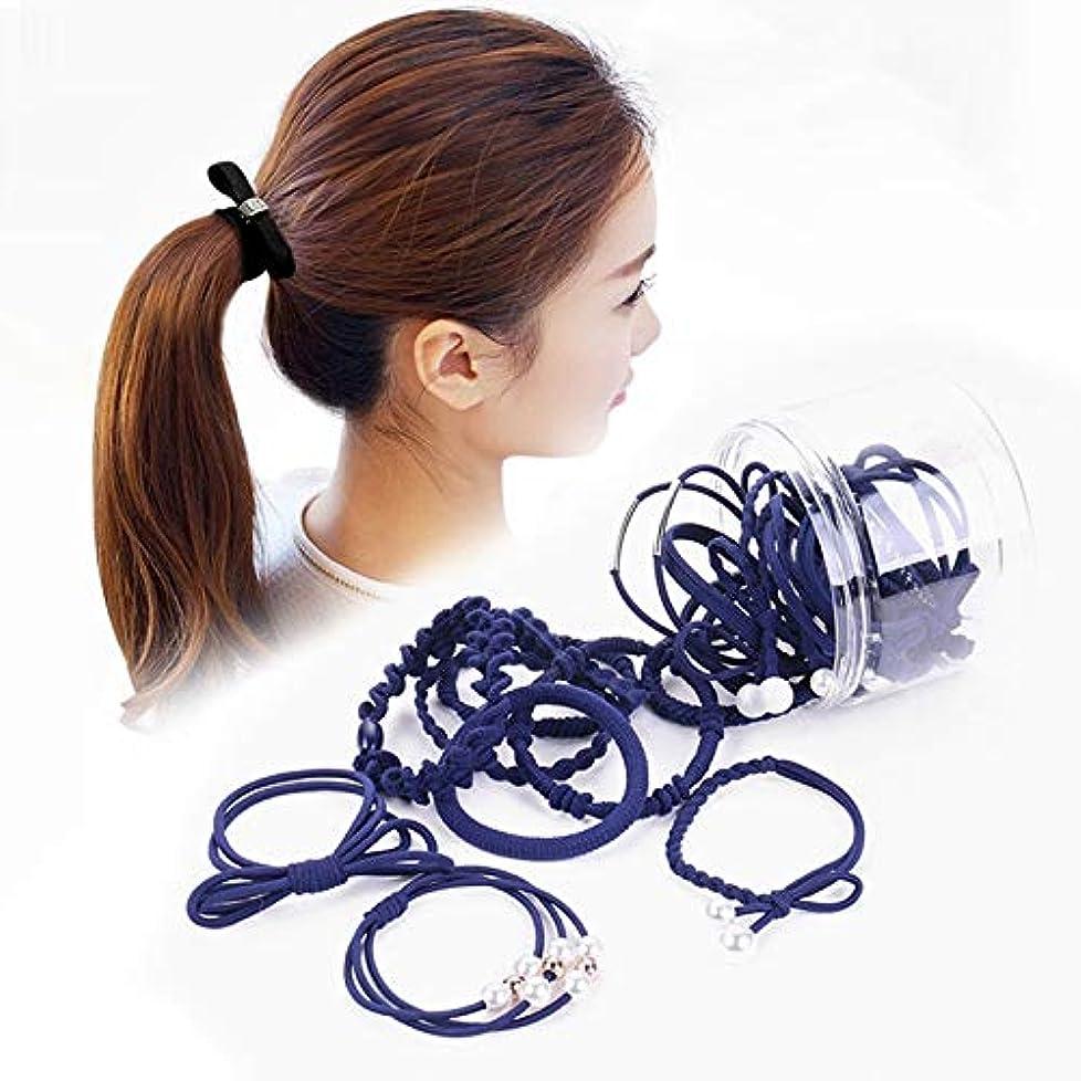松明かりて公園Hairpinheair YHM 24 PCS/箱入りシンプルクリエイティブレディパールちょう結びスタイルヘアバンド(ブラック) (色 : Navy Blue)