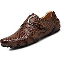 WYR-AU Man Driving Loafer Casual Style Genuine Leather Crocodile-Striped Metal Buckle Jumbo Boat Shoes