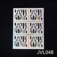 MYKUNSIA偽の爪DIYネイルビニールネイルアート不規則なグリッドパターンスタンピングのヒントマニキュアテンプレート中空ステッカーガイド JVL048