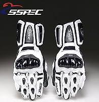 SSPEC  バイク  レーシング  グローブ 革手袋 防水防寒 摩耗性 黒と黒白 (白, M)