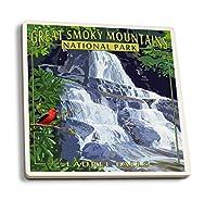 Laurel Falls–Great Smoky Mountains国立公園、TN 4 Coaster Set LANT-37020-CT