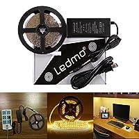 LEDMO LED Light Strip, SMD 2835 Warm White 3000K, Dimmable , Non-Waterproof , DC12V 600LEDs 16.4 Ft LED ribbon,LED Tape Ribbon,Decoration Led Ribbon With Power Supply [並行輸入品]