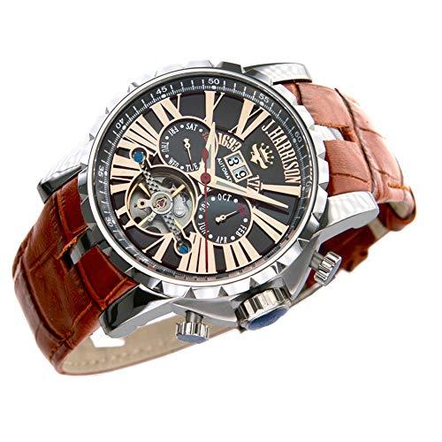 最強のパフォーマンス!機械式 時計 [ J.HARRISON ] 自動巻 スケルトン 牛革ベルト 腕時計 メンズ 紳士 誕生日プレゼント 360033PB