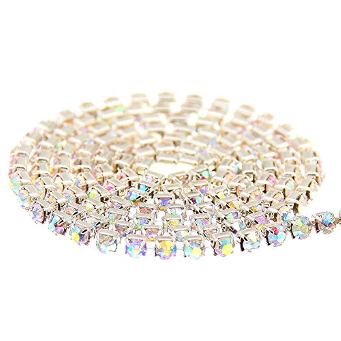 長々と中間たくさんのNizi Jewelry ストラスラインストーンチェーン:銅カップチェーン+ AAAグレードのガラスの尖った底ラインストーン(SS12(3ミリメートル)約5M、27クリスタルオーロラ+シルバーベース)
