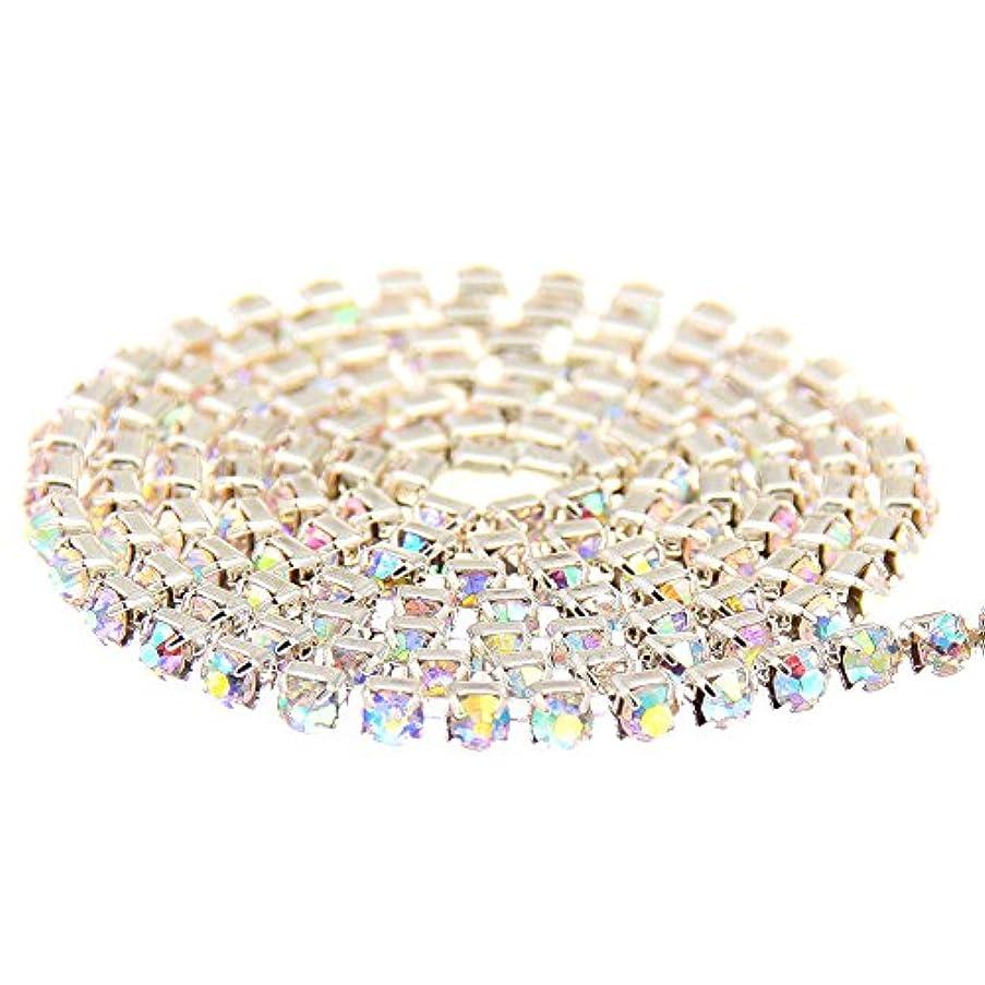 変な楽観誠意ストラスラインストーンチェーン:銅カップチェーン+AAAグレードのガラスの尖った底ラインストーン (ss6.5(2mm) 約 0.9M, 27 クリスタルオーロラ+シルバーベース)