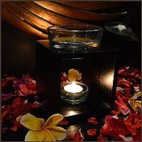 チーク ガラス キャンドル式 石彫り 高級 アロマポット アロマバーナー ブラック バリ雑貨 アジアン雑貨