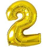YOU+ バルーン 数字 ナンバーバルーン 80cm/90cm ゴールド/シルバー (ナンバー2, ゴールド)