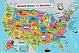 キッズ アメリカ合衆国地図 ウォールポスター (13 x 19) 米国地図 プレミアム紙 州スローガンと画像50枚 ラミネート加工