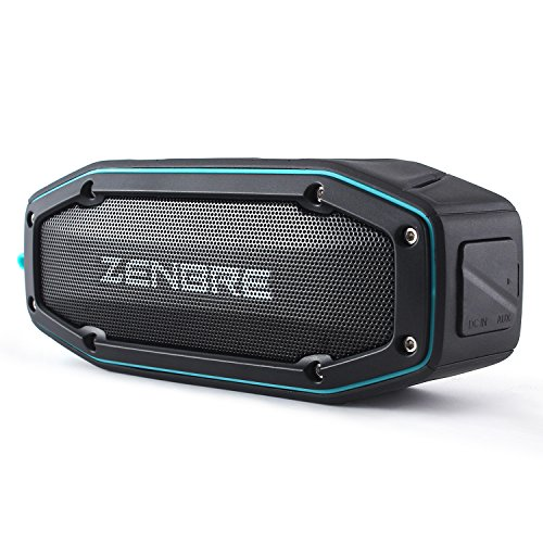 Bluetoothスピーカー、ZENBRE D6 アウトドア/IPX6防水スピーカー【お風呂対応、Bluetooth4.1、2x5Wウーファーと増強リゾネーター、20時間長連続再生】(ブルー)