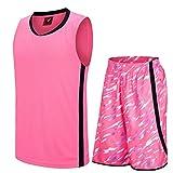 ゆったりタイプカジュアルノースリーブバスケットボールジャージーショーツセット、夏スポーツウェアS-XXXL ピンク