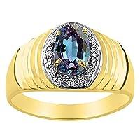ダイヤモンド&シミュレートアレキサンドライトリング14K黄色または14Kホワイトゴールド