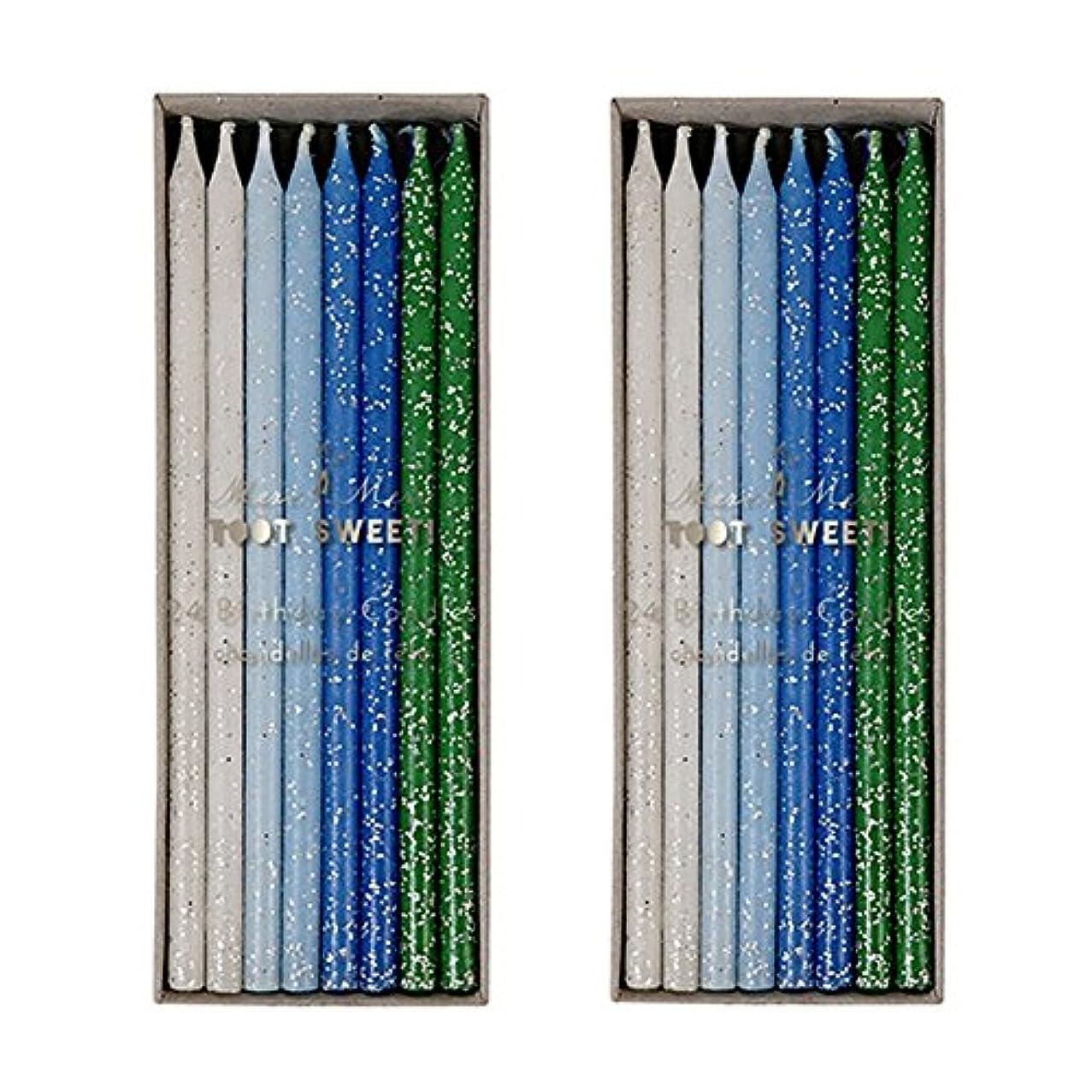 有能な構成くしゃくしゃMeri Meri Birthday Candles 2つpack-48キャンドル ブルー