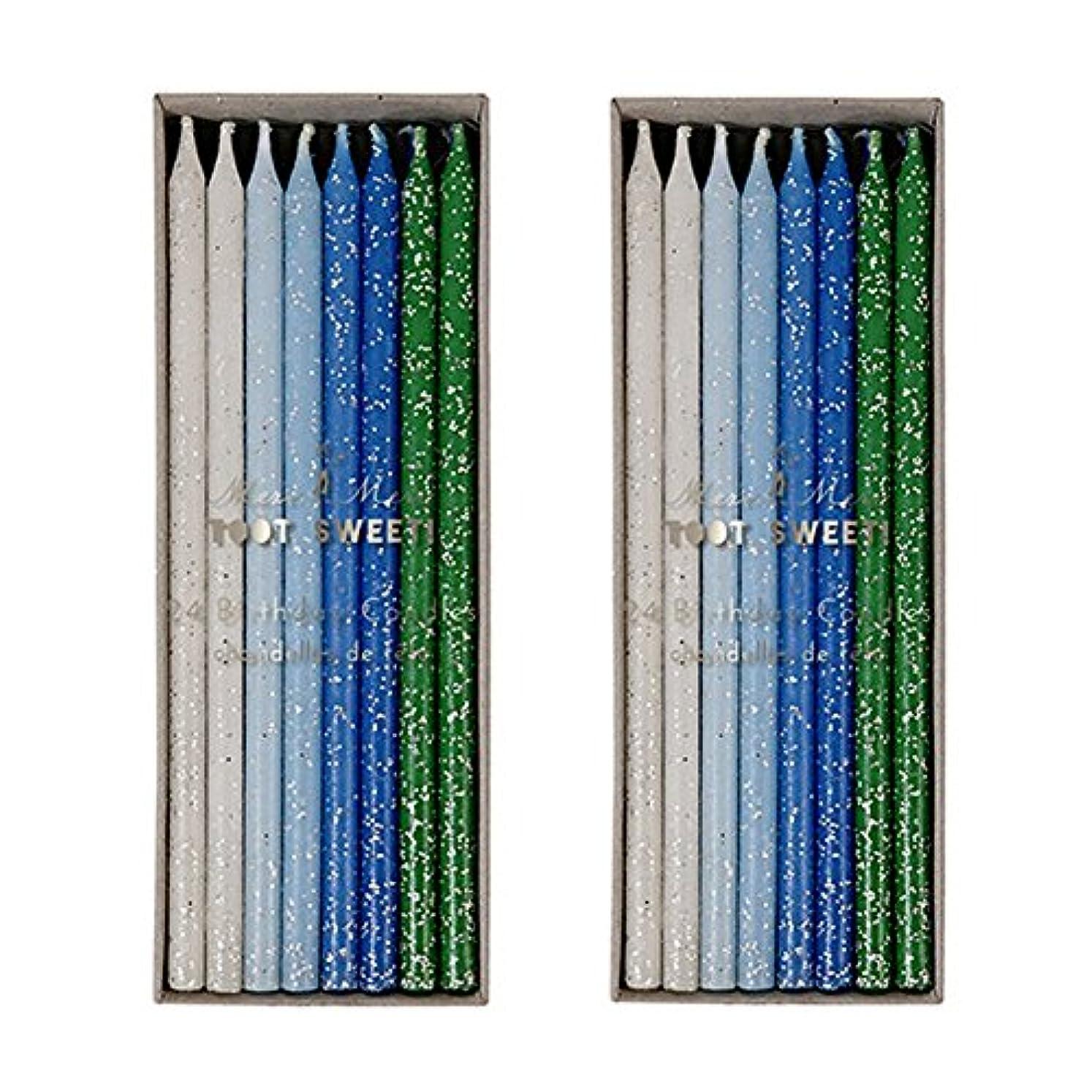モトリー特定のプラットフォームMeri Meri Birthday Candles 2つpack-48キャンドル ブルー
