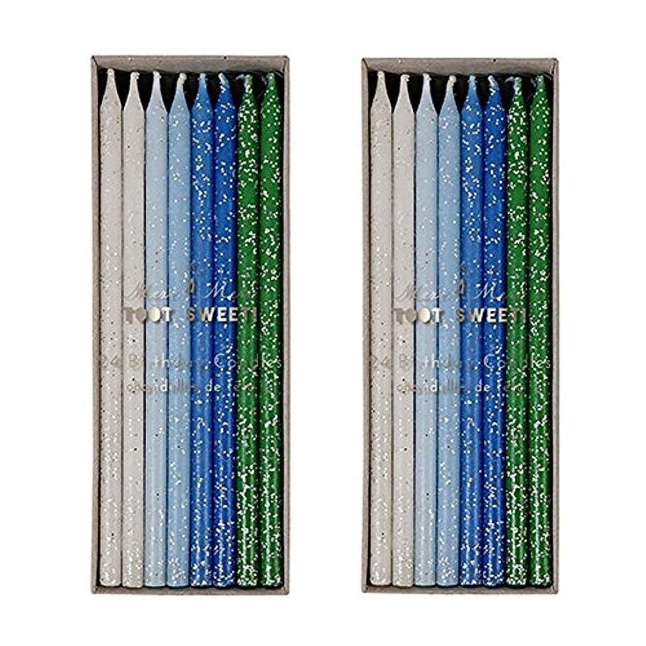 ルビーハンマー従順なMeri Meri Birthday Candles 2つpack-48キャンドル ブルー
