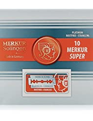 Merkur Stainless Platinum Safety Razor Blades 10 Pack