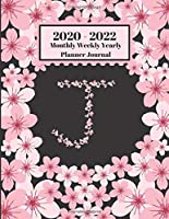 2020 - 2022 Monthly Weekly Yearly Planner Journal: J Monogram Initial Letter J Cherry Blossoms Flower Personalized 2 Year Planner Appointment Calendar Organizer And Journal