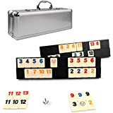 Rummikub Game-106 Outlasting Colour Tiles with 4 Anti-skid Durable Trays and Carrying Aluminium Case by Kaile