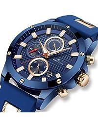 [メガリス]MEGALITH 腕時計 メンズ時計ブルー クロノグラフ防水ウオッチルミナス夜光 多針アナログクオーツ腕時計シリコン 日付表示 ラグジュアリー おしゃれ ビジネス カジュアル 男性腕時計