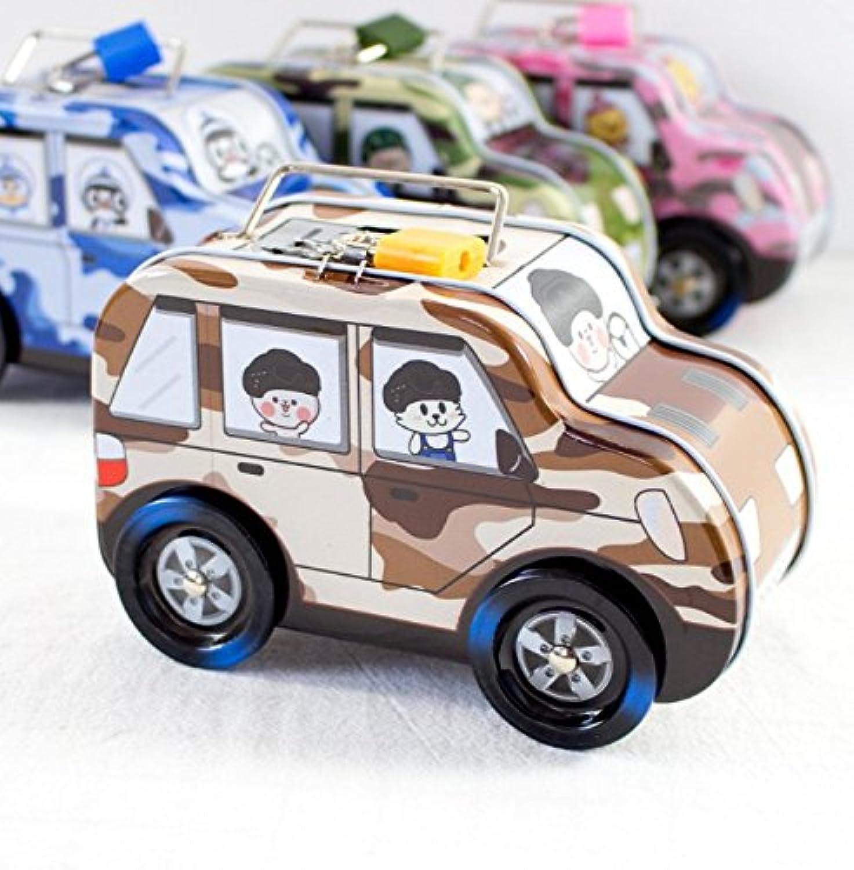 HuaQingPiJu-JP 子供のための新しい車輪付きの車のピギーバンクのティンプレートピギーバンクギフト(イエロー)