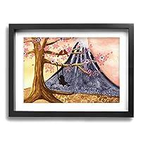 My Life 桜 富士山 木製の枠 キャンバス絵画 アートパネル インテリアアート 家の壁の装飾画 壁飾り 壁ポスター おしゃれ 壁アート写真の装飾画の壁画 - 白黒