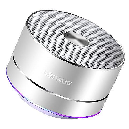 Lenrue Bluetooth スピーカー ポータブル ブルートゥース スピーカー ミニ ワイヤレススピーカー 高音質 低音強化 3W拡声器 マイク内蔵、LEDライト、AUXケーブル、TFカード、Micro USB、iPhone/iPad/Android/タ ブレットなどに対応(シルバー)