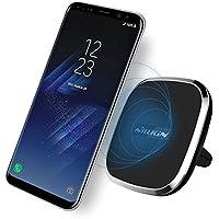 NILLKIN Qi(チー) 車載ワイヤレス パット 車載ホルダー 置くだけで 超便利 エアコン吹き出し口用 360°回転可能 指示ライト付き 全機種対応 IphoneX,iphone8/8plus,Galaxy S8/S8 plus/S7/S7 edge/S6/S6 edge, Nexus 4/5/6/7,LG G6等に対応 (ワイヤレスBモデル, ブラック)