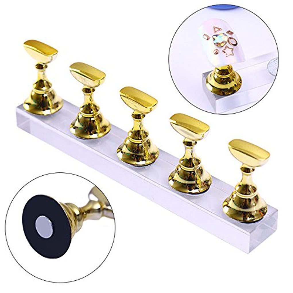 クラブ不倫崖SODIAL 新品磁気アクリルマニキュア工具、ネイル練習ハンドネイルエクササイズペデスタル、ネイル用品、ネイルチップディスプレイスタンド、ゴールド