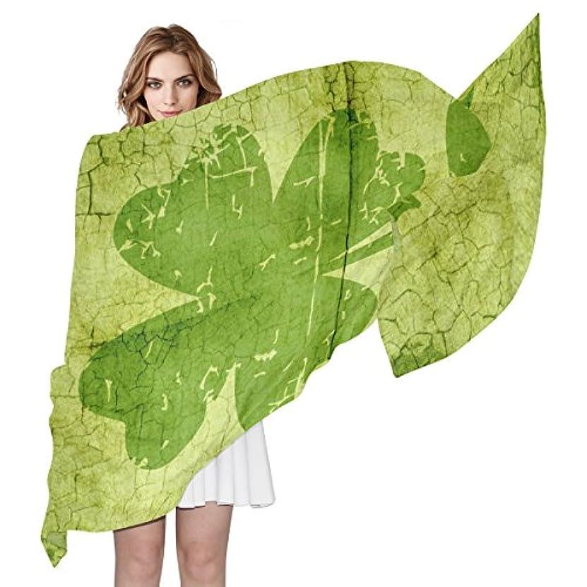 兄バースト施しGORIRA(ゴリラ) 三つ葉柄 クローバー草 緑 ロング 人気 おしゃれ 個性 スカーフ ストール バンダナ 肌触り抜群 薄手 プレゼント レディース やわらかい シフォン 絹のスカーフ 90x180cm