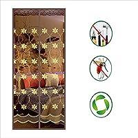 刺繍 磁気スクリーンドア,強化ガラス繊維 網戸 フランスのドアのための補強されたフルフレームベルクロが付いている -f 120x220cm(47x87inch)