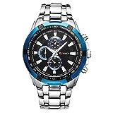 メンズ ファッション New CURREN ファッション メンズ ステンレススチールバンド アナログ スポーツ クォーツ腕時計CUR007 (Silver+Blue)