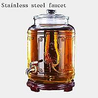 厚いガラスワインボトル飲料ディスペンサー家庭用密閉タンク酵素発酵バレル薬用ワイン健康ワインベース付き蛇口